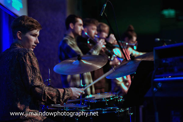 Will Cleasby on drums, Trinity Laban Contemporary Jazz Ensemble