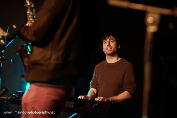 Sam Leak on keys. Far Out Recordings launch party for their 200th release 'Viajando Com O Som' by Hermeto Pascoal with Sean Khan playing at the Total Refreshment Centre 3.11.17