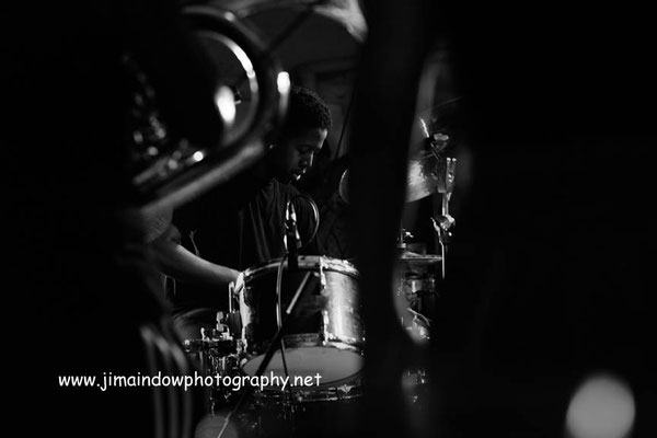 Moses Boyd on drums with Theon Cross Trio, ChicagoXLondon, Total Refreshment Centre, 18.10.17
