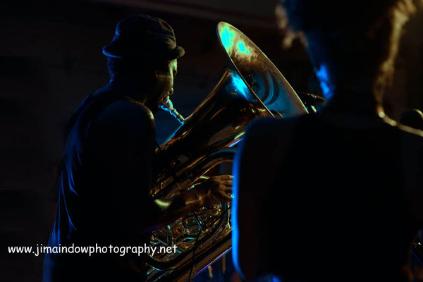 Theon Cross on tuba. Theon Cross on tuba. Theon Cross Trio, ChicagoXLondon, Total Refreshment Centre, 18.10.17