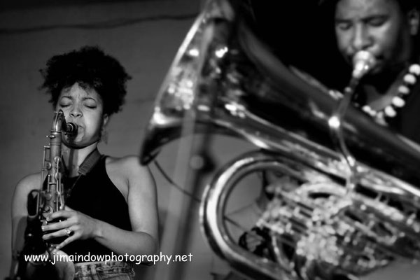 Nubya Garcia on sax with Theon Cross Trio, ChicagoXLondon, Total Refreshment Centre, 18.10.17