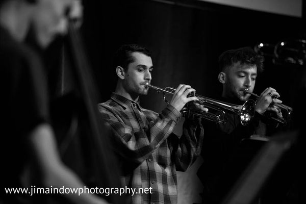 Left to right Daniel Gray & Dylan Jones of the Ezra Collective on trumpet, Trinity Laban Contemporary Jazz Ensemble