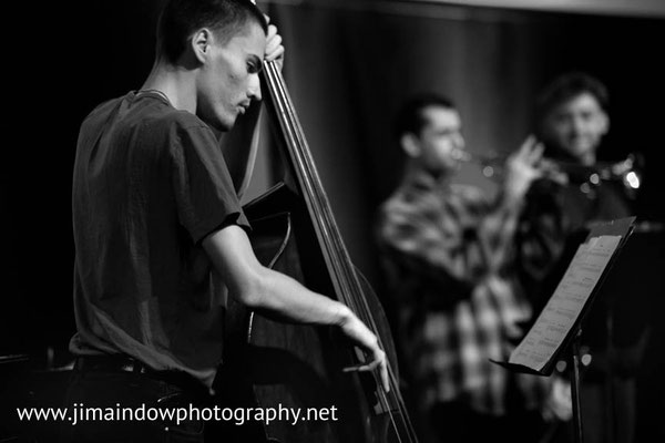Michael Shrimpling on bass, Trinity Laban Contemporary Jazz Ensemble