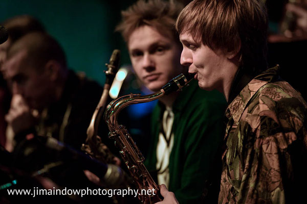 left to right : Nye Banfield & Louis Atkinson on sax. Trinity Laban Contemporary Jazz Ensemble