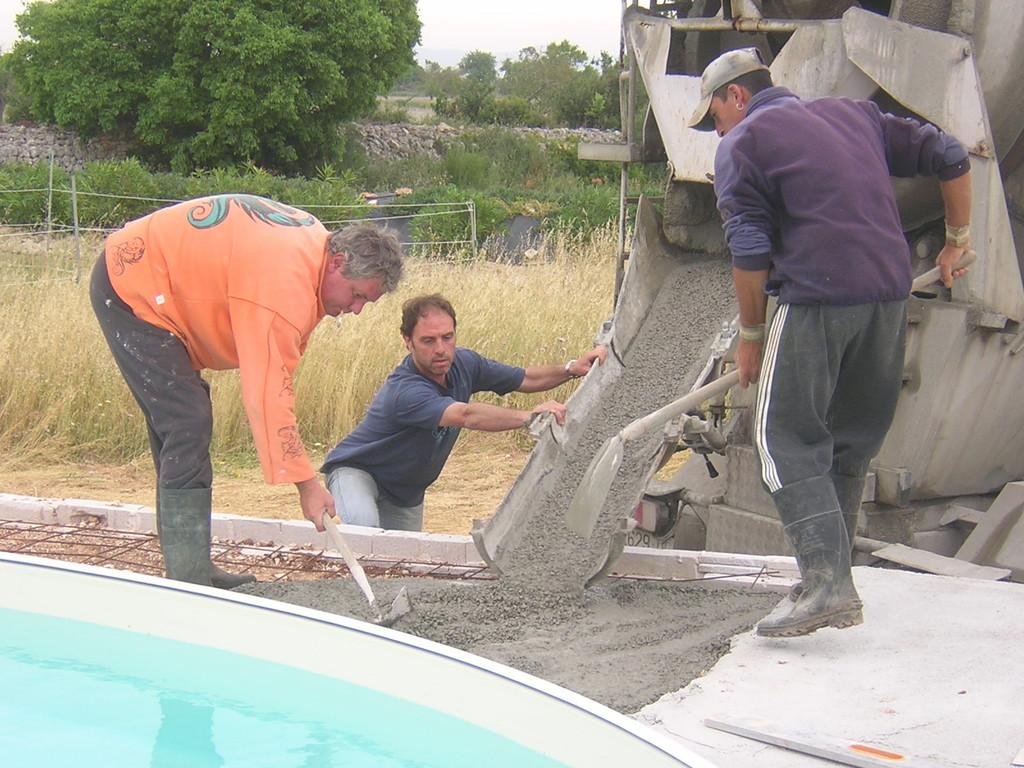 Betonieren der Terrasse