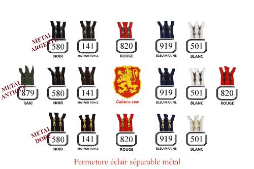 Fermeture éclair YKK en métal séparable