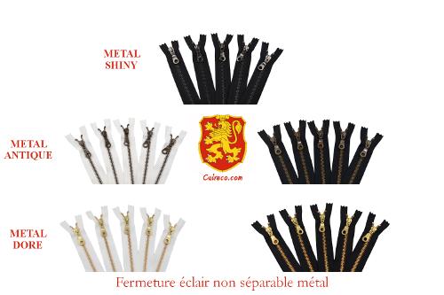 Fermeture éclair YKK en métal non séparable