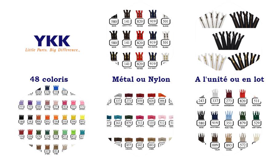 YKK Fermeture éclair en nylon ou en métal, séparable ou non, à l'unité ou en lot