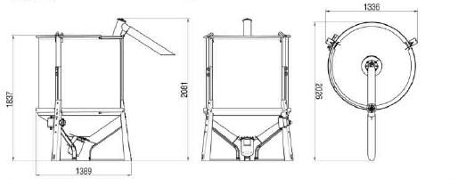 1tペレットタンクセット寸法