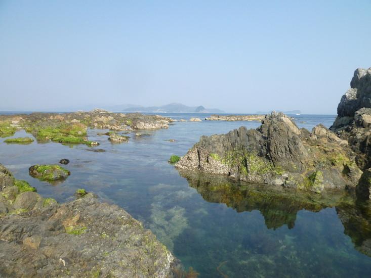 祝島の磯から対岸の田ノ浦を望む(2011年3月)