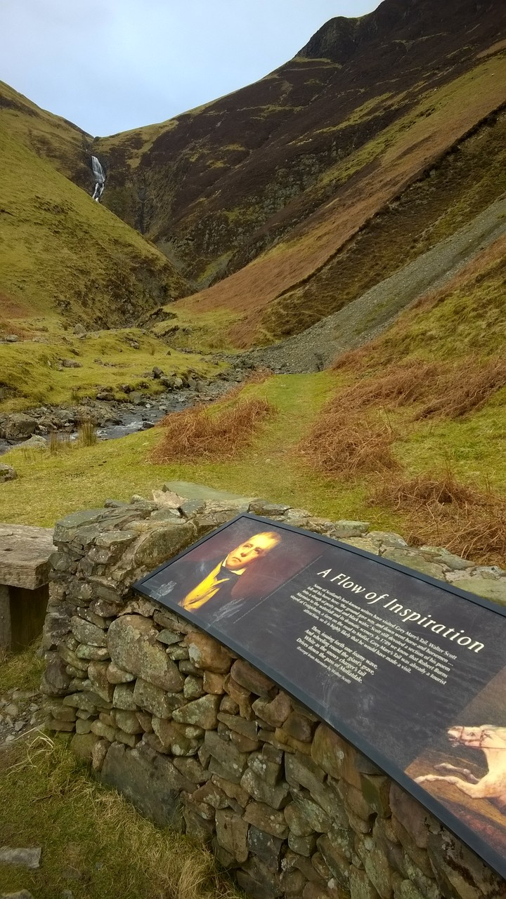 Walter Scott in front of Grey Mare's Tail