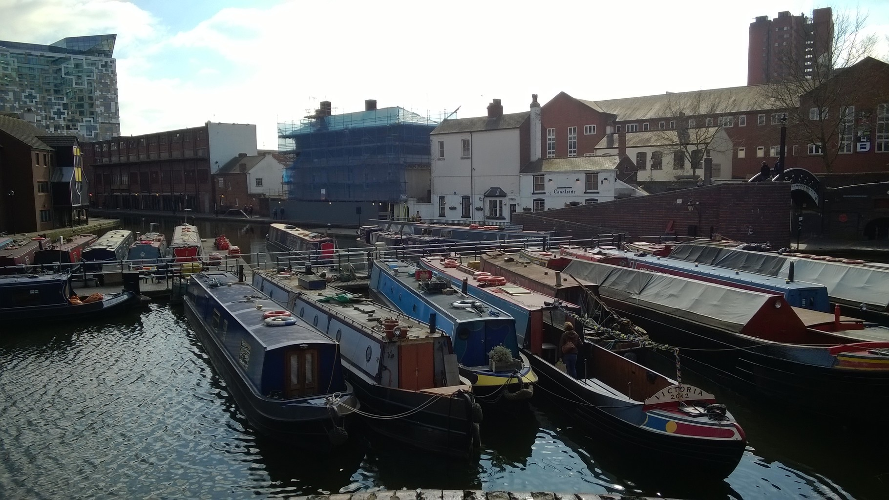 Boats tied for the winter in Gas Street Basin