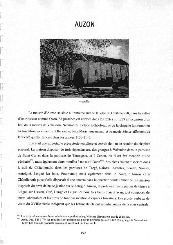 J. Vialard - L'ordre du Temple en Poitou Charentes - 2007 - Extraits concernant Auzon p.192