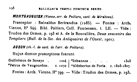 "Léonard - "" Gallicarum Templi domorum series ""  - 1930 extrait Auzon"