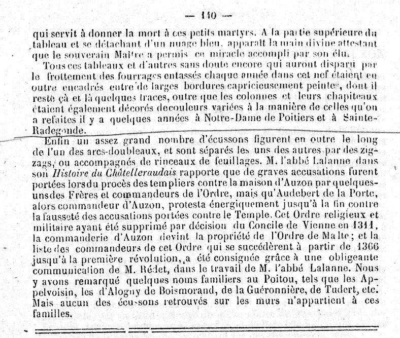 """Longuemar 1881 """" Anciennes fresques des églises du Poitou """" p.140"""