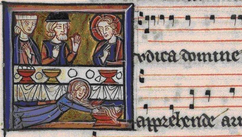 Graduel de Fontevraud - folio 107 v. Marie-Madeleine lavant les pieds de Jésus.