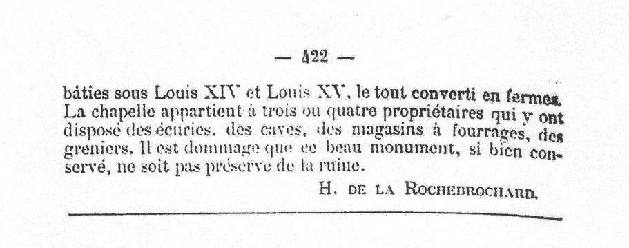 Rochebrochard - Revue Poitevine et Saintongeaise - T VI - Etude sur quelques commanderies des Templiers d'Aquitaine - 1889 p.422