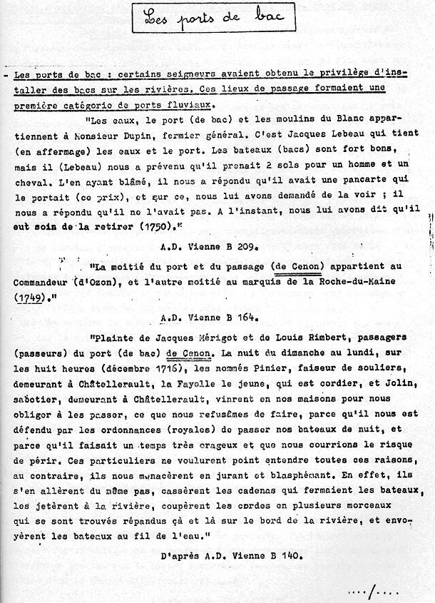Classe de Mme Pauly - Cenon entre Vienne et Clain - 1983 - Navigation sur les grandes rivières du Poitou