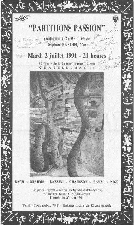 """Prospectus concert """"Partitions passion"""" G. Combet et D. Bardin 2 juillet 1991"""