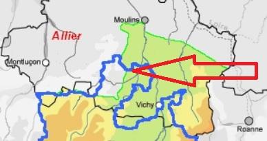 Nord Auvergne - en vert du 1er au XIème - en bleu après le XIème - Les champs Sonnets sont au bout de la flèche.