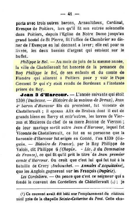 """Roffay des Pallus 1738 """" Mémoires Chronologiques pour servir à l'Histoire de Châtellerault """" p.41"""