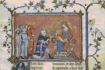 Joinville offrant son livre à Louis X le Hutin