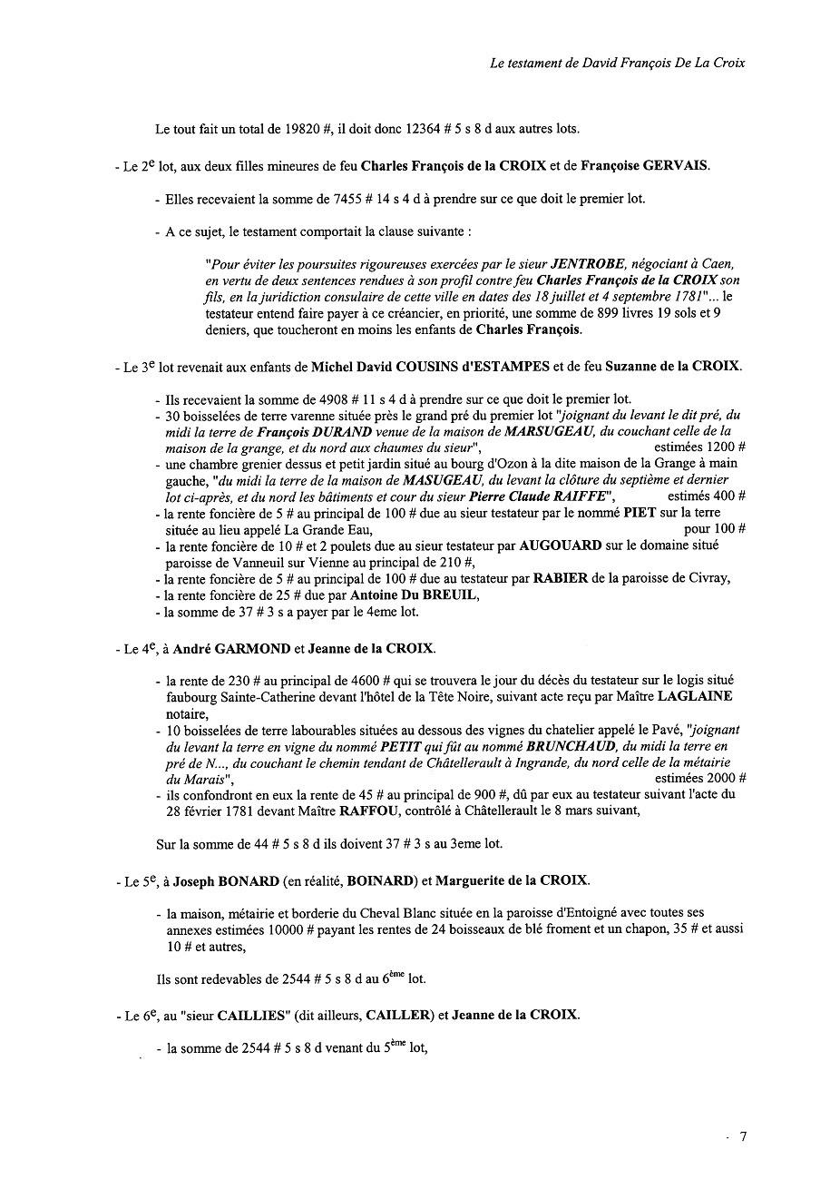 1785 - Testament de David François de la Croix