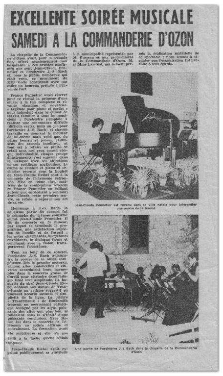 Article de journal concert J.C. Pennetier et l'orchestre J.S. Bach dirigé par J.C.Reibel - juin 1973