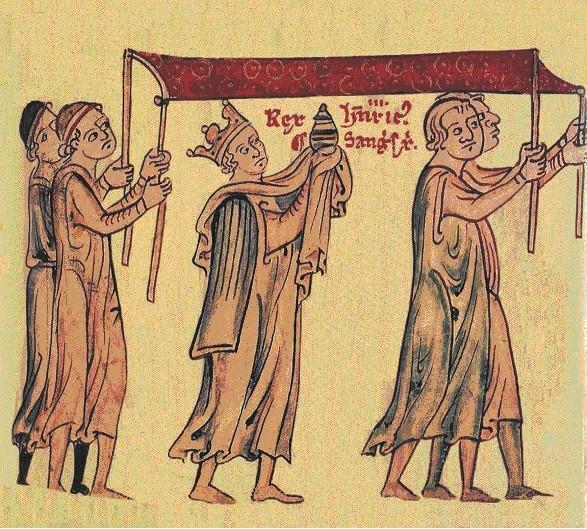Henry III pieds nus porte le Saint-Sang de Saint Paul à Wesminster - Cambridge MS 16 f. 215r.