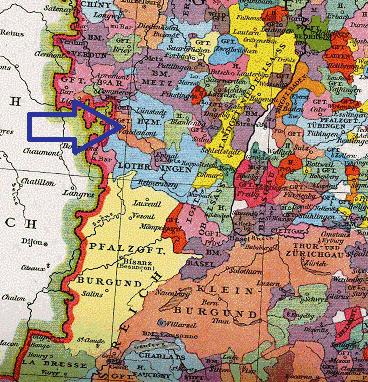 Les comtés lorrains en 1250