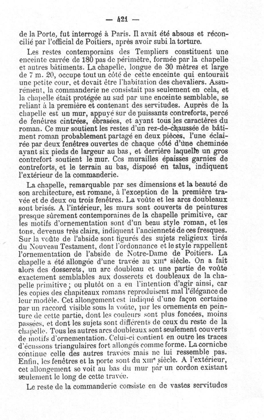 Rochebrochard - Revue Poitevine et Saintongeaise - T VI - Etude sur quelques commanderies des Templiers d'Aquitaine - 1889 p.421