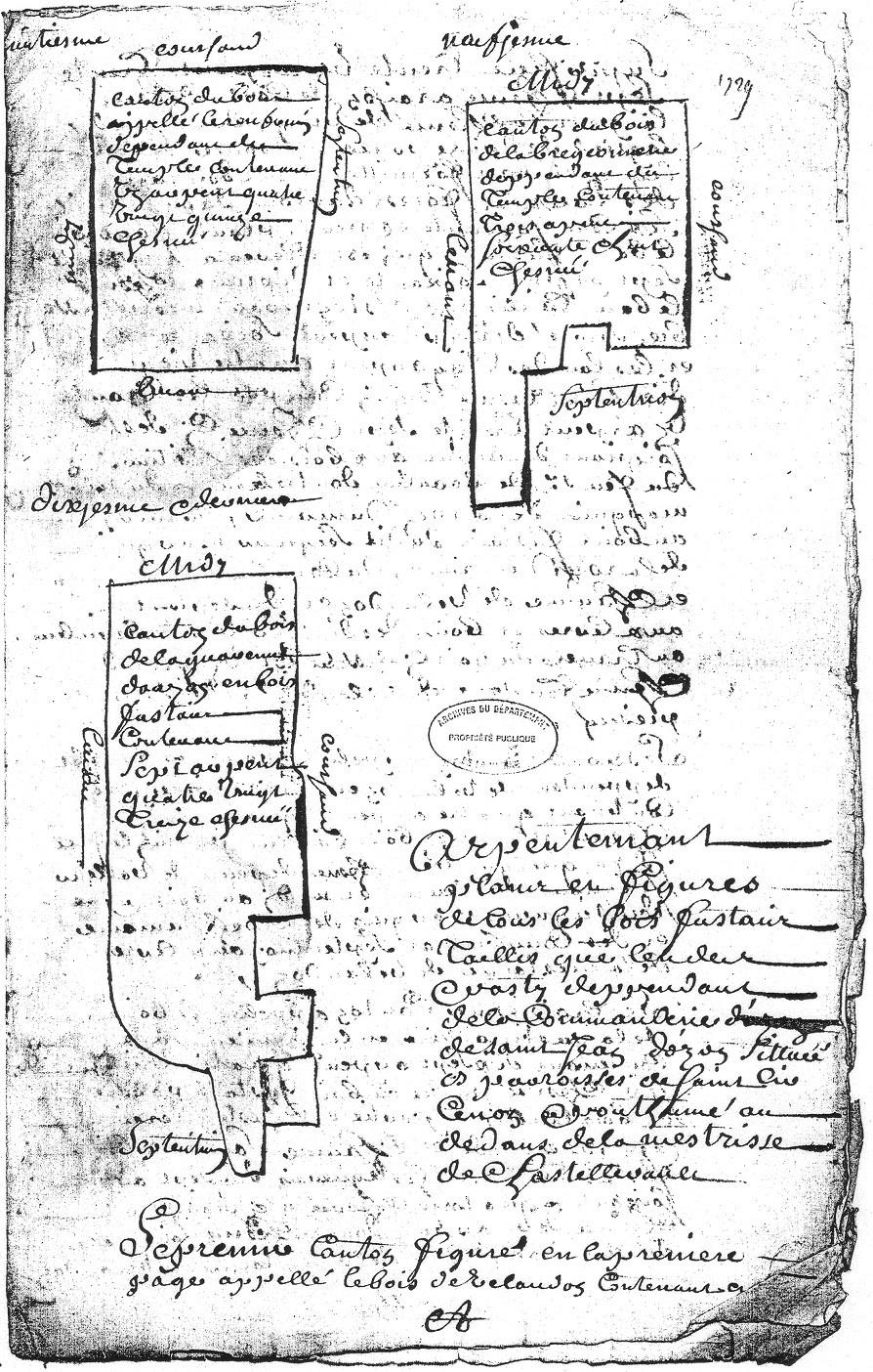 1729 - Plans des bois de la commanderie d'Auzon  - D'Allogny de la Groie Figures 8,9 et 10