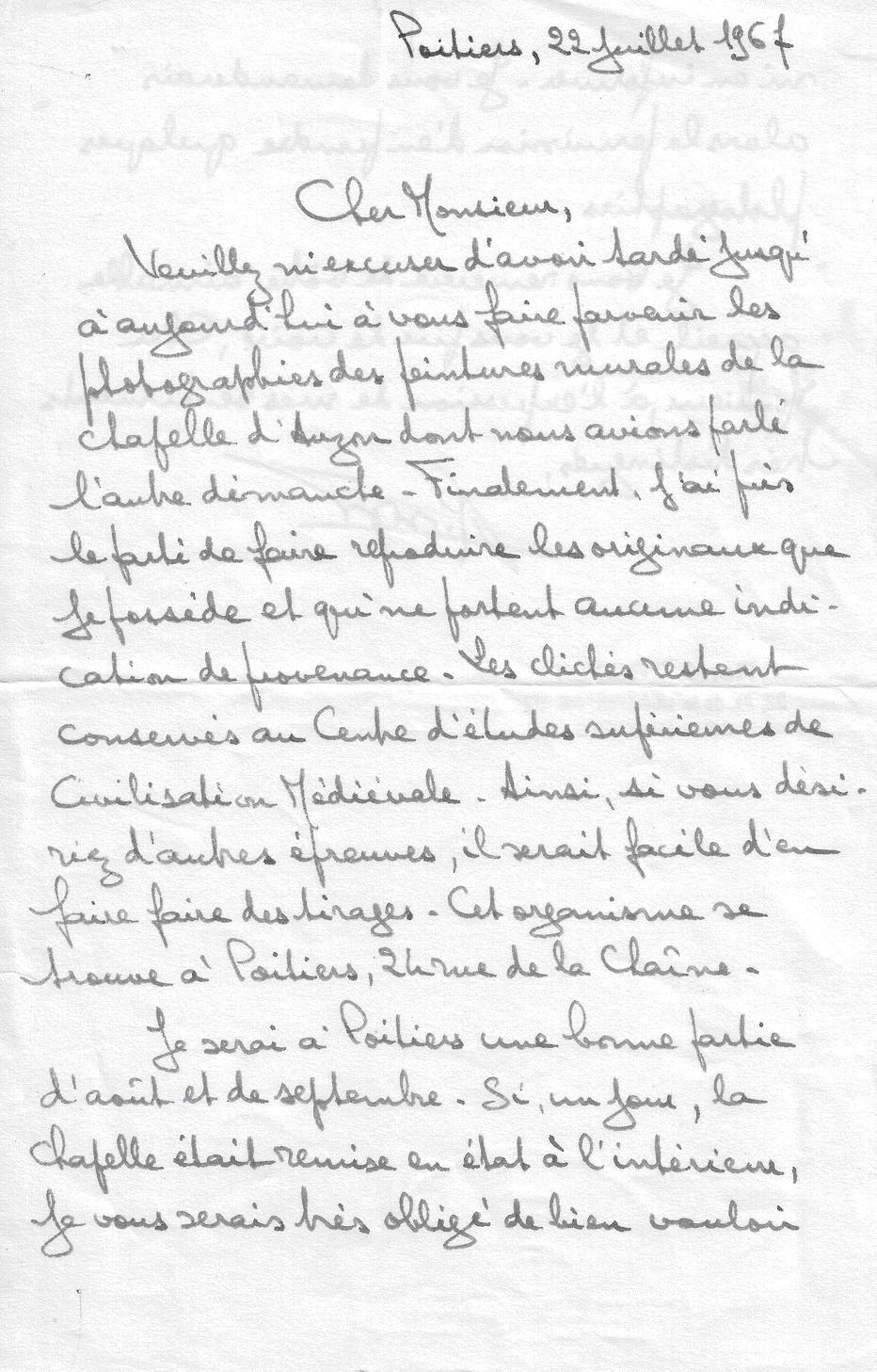 Lettre de Mr René Crozet - 1967 - p.1