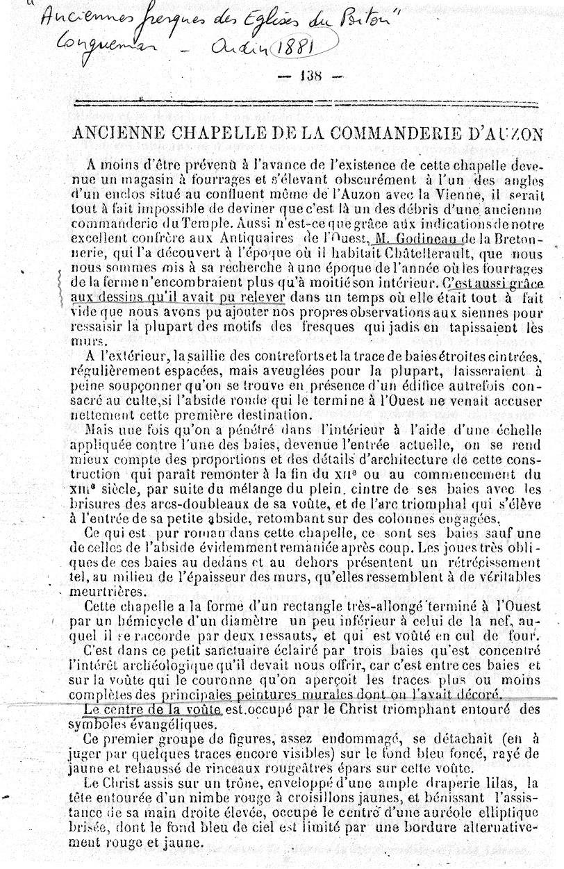 """Longuemar 1881 """" Anciennes fresques des églises du Poitou """" p.138"""