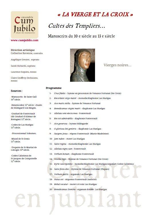 """Programme du concert """"la vierge et la croix"""" ensemble Cum jubilo 24 septembre 2011"""