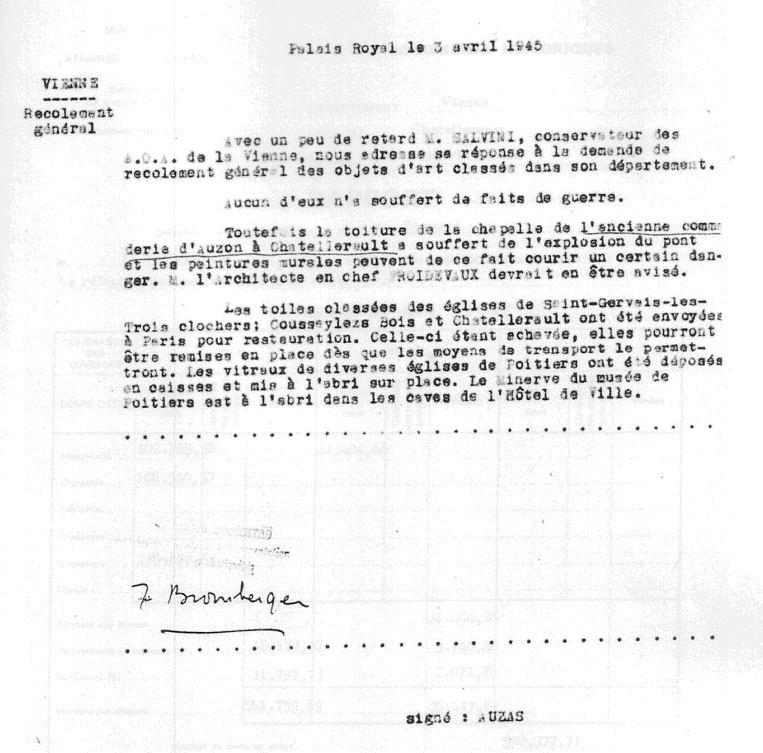 Recolement général sur les faits de guerre - 1945