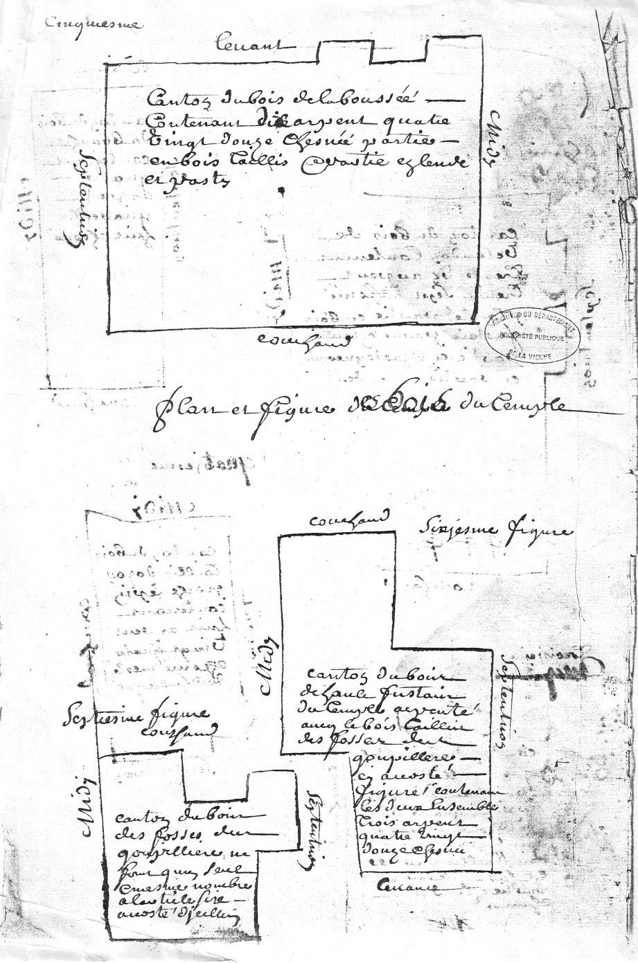 1729 - Plans des bois de la commanderie d'Auzon  - D'Allogny de la Groie Figures 5, 6 et 7