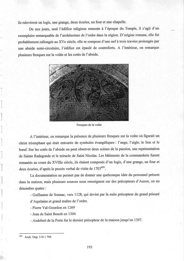 J. Vialard - L'ordre du Temple en Poitou Charentes - 2007 - Extraits concernant Auzon p.193