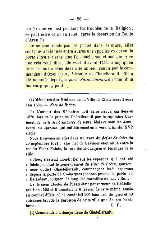 """Roffay des Pallus 1738 """" Mémoires Chronologiques pour servir à l'Histoire de Châtellerault """" p.96"""