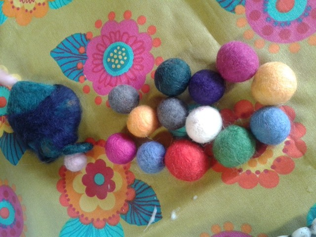 Beads (felted by a 5-year old)