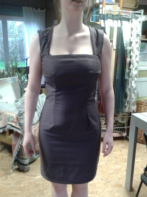Dress: custom made sloper, turned into her own design