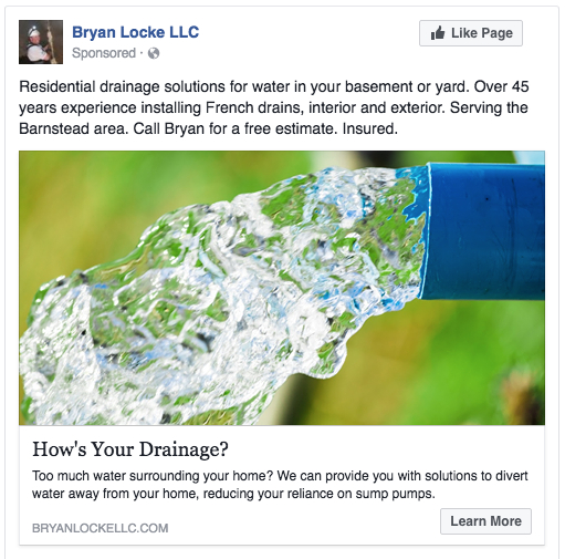 Facebook ad for a residential drainage system installer, basement waterproofing service.