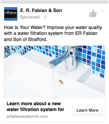 Mobile view of Bob Fabian's filtration system Facebook ad