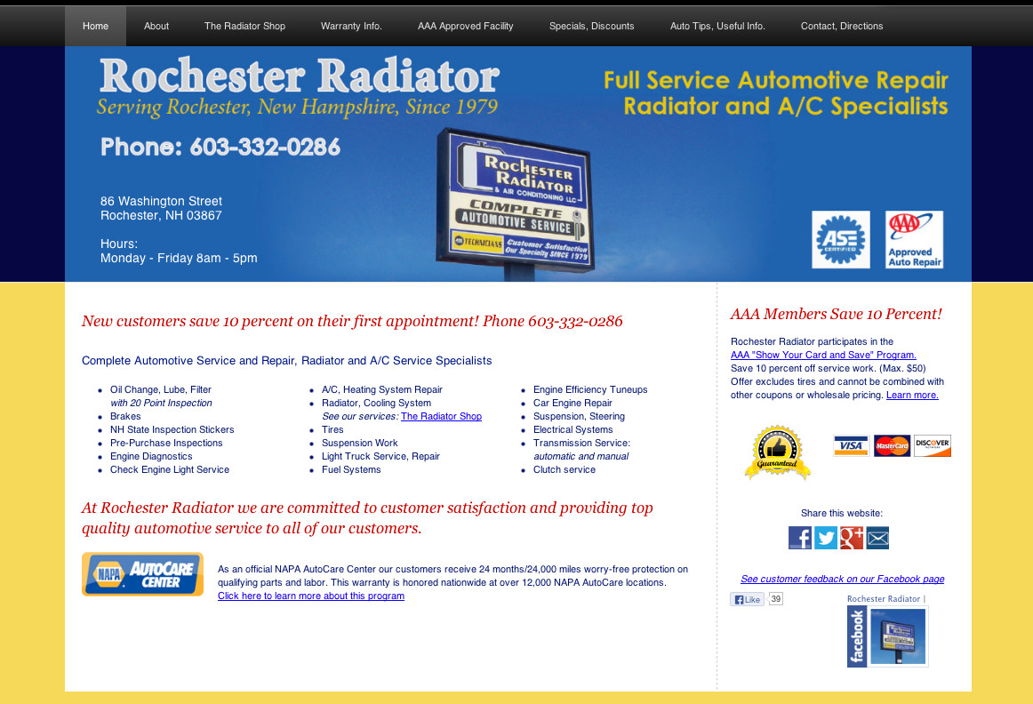 Automotive Repair, Service Websites