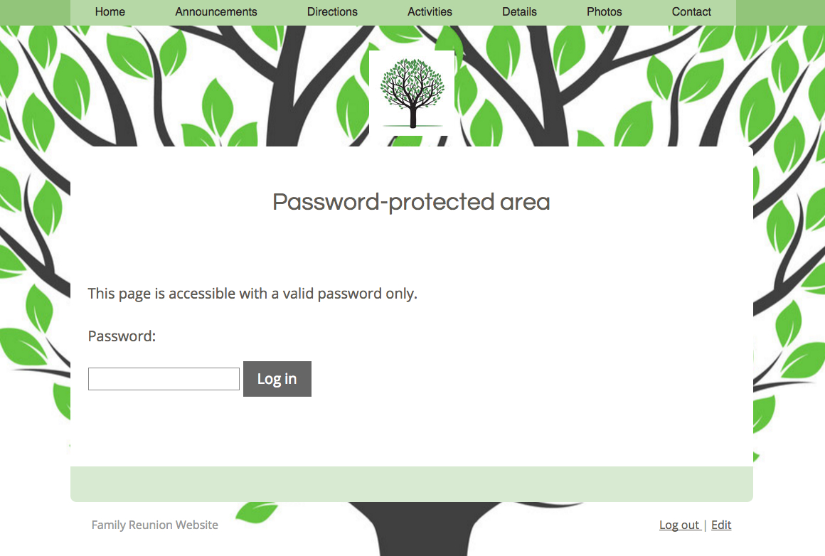 Password Protected Website for a Family Reunion (not currently a published site)