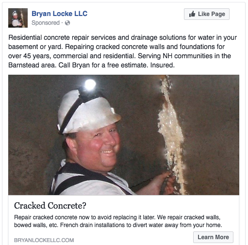 Facebook ad for a local concrete repair contractor.