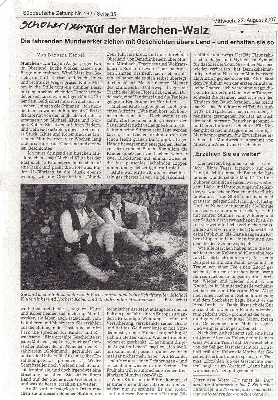 Süddeutsche Zeitung - 22.08.2007