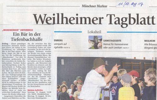 Weilheimer Tagblatt - 11.08.2007