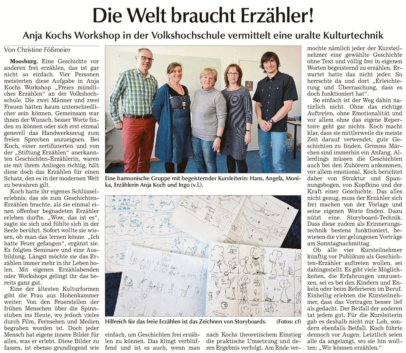 Die Welt braucht Erzähler - Anja Kochs Workshop in der Volkshochschule vermittelt eine uralte Kulturtechnik