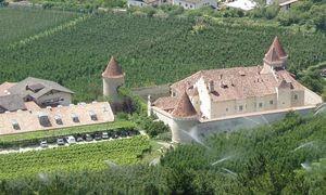 Der Seminarort Schloss Goldrain eingebettet in Apfelwiesen.